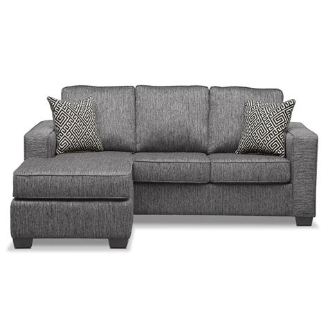 sleeper sofa chaise sterling innerspring sleeper sofa with chaise charcoal