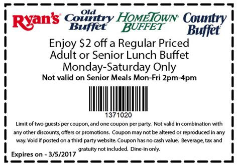 hometown buffet dinner coupons country buffet coupons 2 lunch at ryans