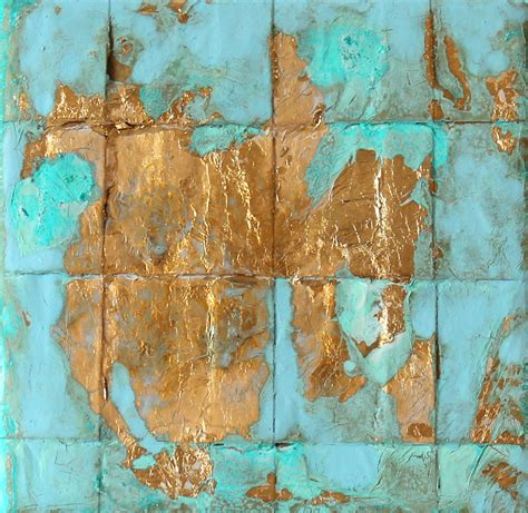 acrylic painting gold gold leaf painting 11 acrylic painting 4x4 light blue
