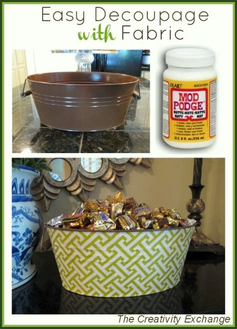 how to decoupage metal easy decoupaging with fabric treat