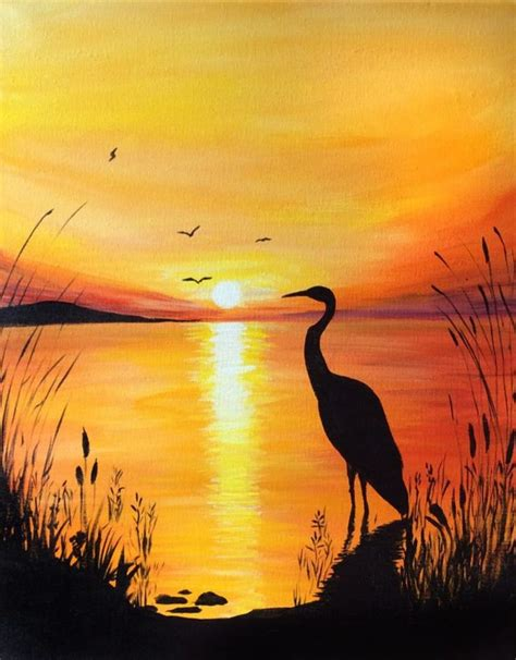 acrylic painting on canvas cranes sunset 25 best ideas about sunset paintings on