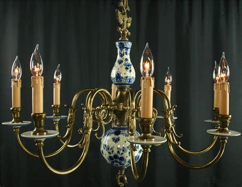 delft chandelier large vintage blue delft chandelier painted 8 arms