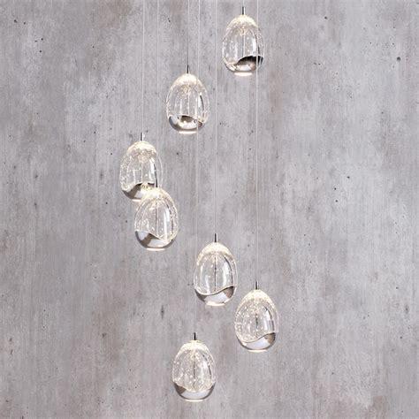 bulla pendant ceiling 7 light led spiral cluster chrome