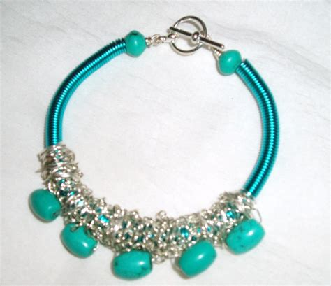 ideas for jewelry with turquoise gemstone and turquoise wire coil bracelet
