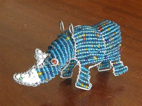 bead and wire animals beaded wire animal sculpture rhino small light by