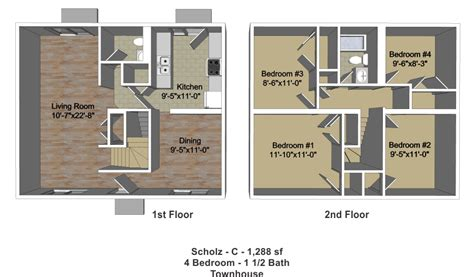 four bedroom townhomes four bedroom one and one half bath townhomes new