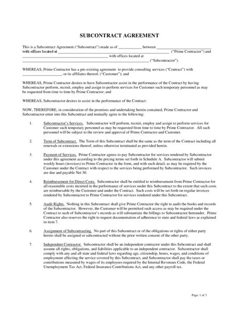 Subcontractors Agreement Template subcontractor agreement 1 legalforms org
