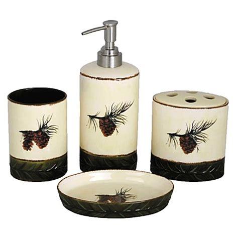 pine bathroom accessories pine cones ceramic bath accessories set