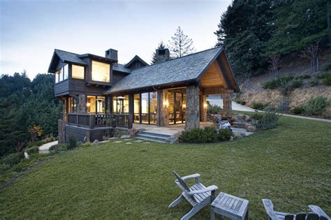 mountain lodge eclectic rustic exterior san