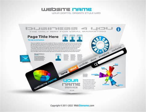 origami websites for creative origami web page template vector free