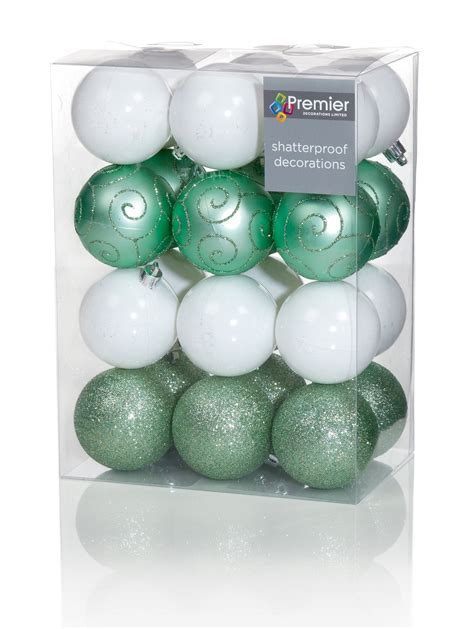green baubles decorations 24 x large green white mix baubles 6cm tree