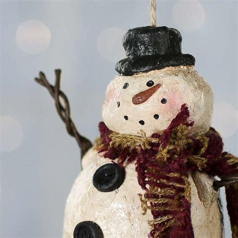 country snowman ornaments primitive paper clay snowman ornament