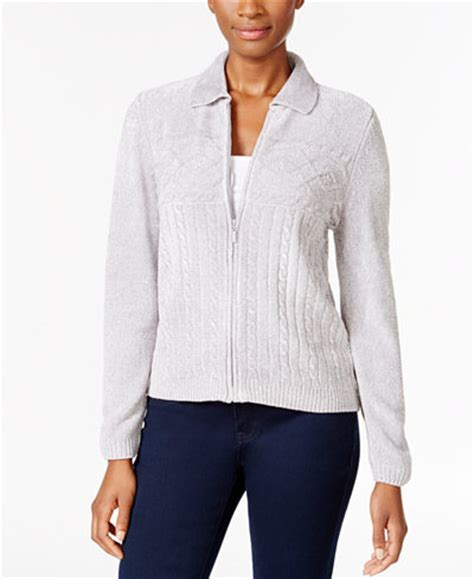 zip up cable knit sweater alfred dunner cable knit zip up cardigan sweaters