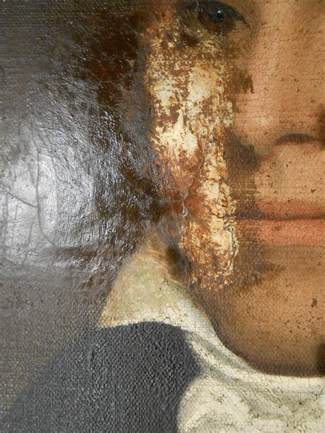 acrylic painting restoration patch revealed during cleaning of 200 year painting