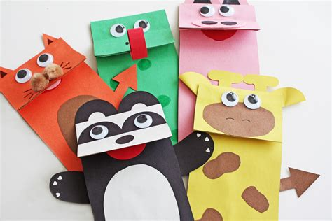 paper puppet crafts diy paper bag puppets