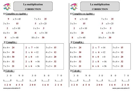 multiplication ce1 exercices 224 imprimer cycle 2 pass education