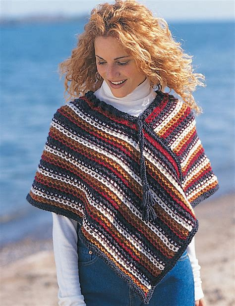 easy knit poncho pattern easy rustic stripes poncho patterns yarnspirations