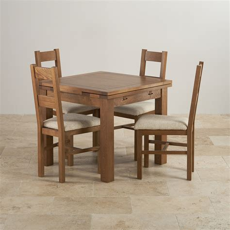 dining table with 4 chairs rustic oak dining set 3ft table with 4 beige chairs