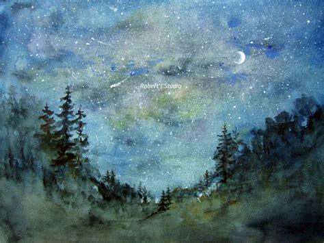 paint nite woodland print of original watercolor painting watercolor
