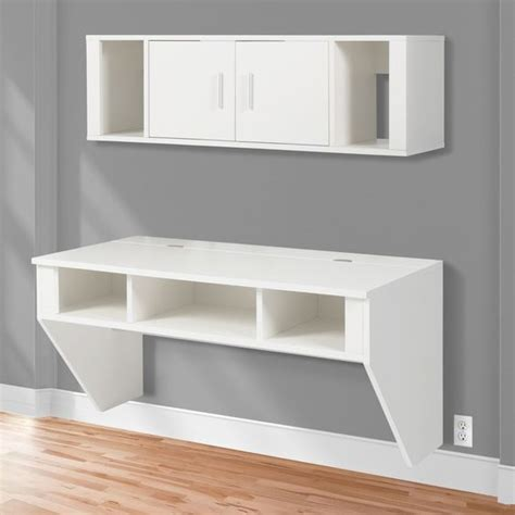 designer floating desk bcp designer floating desk with hutch white finish wall