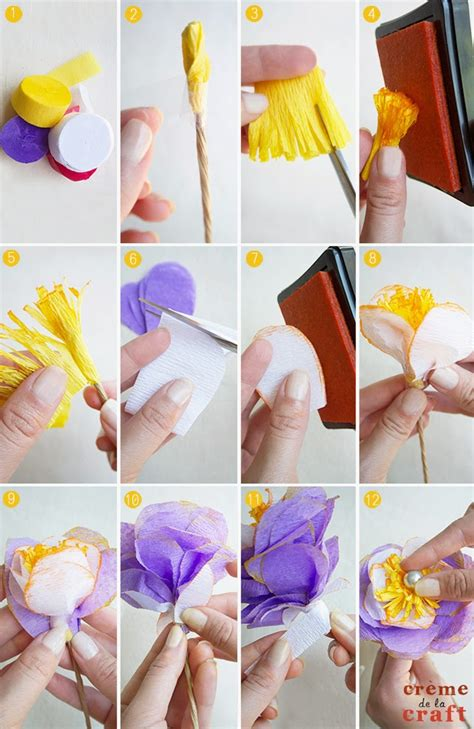 crepe paper craft diy crepe paper flowers from streamers