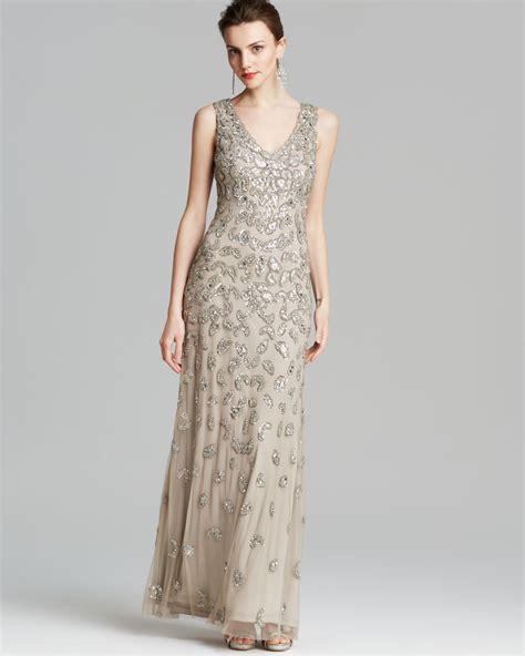 aidan mattox beaded gown aidan mattox gown sleeveless v neck beaded in silver lyst