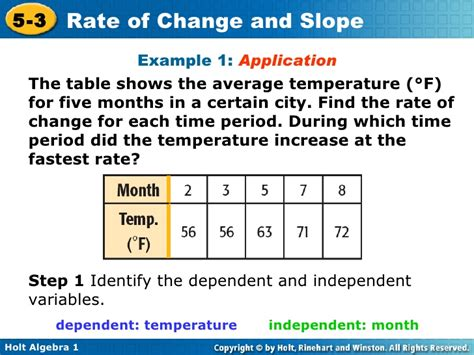 rate of change table chapter 5 rate of change and slopes