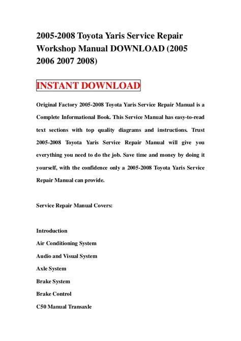 2005 2008 toyota yaris service repair workshop manual download 2005