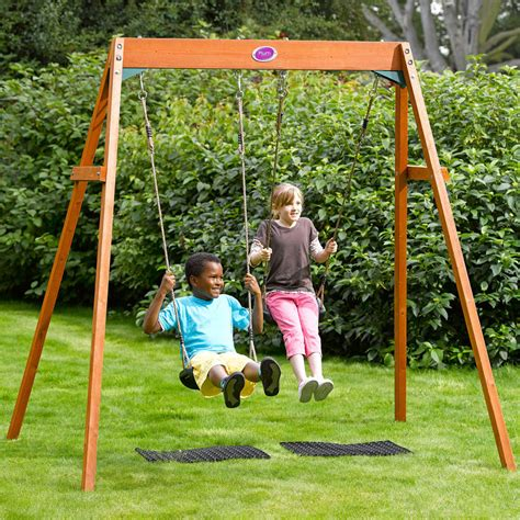 Pergola Swings plum outdoor garden childrens double swing wooden frame