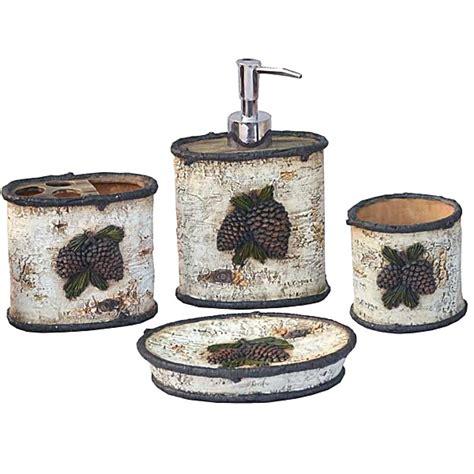 pine bathroom accessories rustic bath decor pine cone bath accessories set