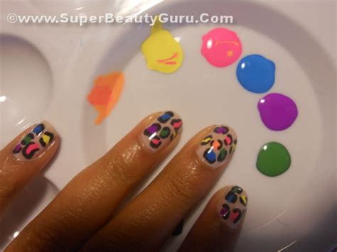 acrylic paint nail tips colorful leopard print nail tutorial how to paint a