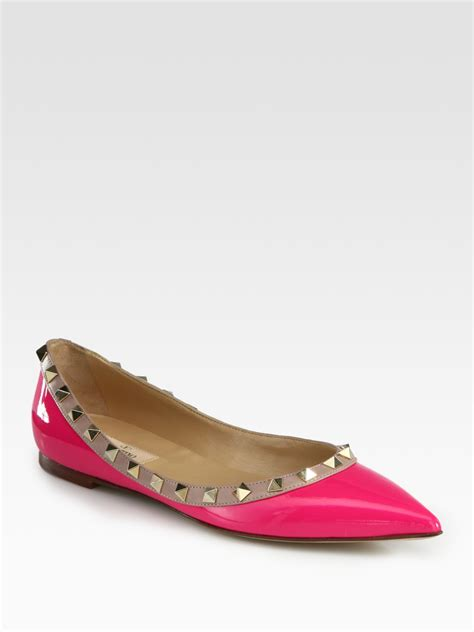 patent leather ballet flats valentino rockstud patent leather ballet flats in pink fuchsia lyst