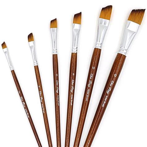 acrylic paint brushes angled paintbrushes 6 pcs paint brush set for