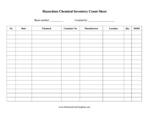 reimbursement invoice template hazardous chemical inventory template
