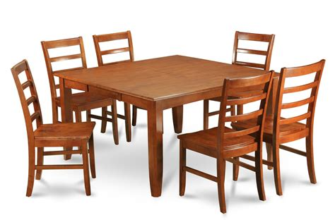 parfait 7 pc 54 215 54 dining table 6 wood seat chairs in