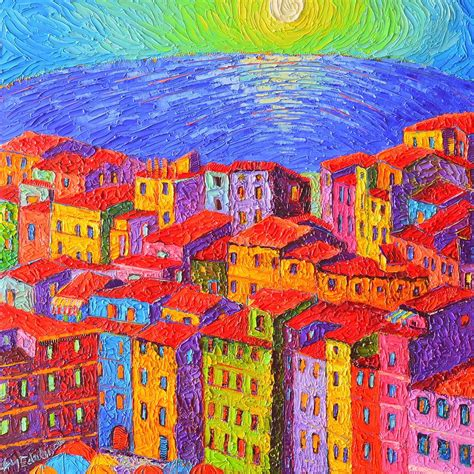 vernazza colorful houses cinque terre italy impressionist
