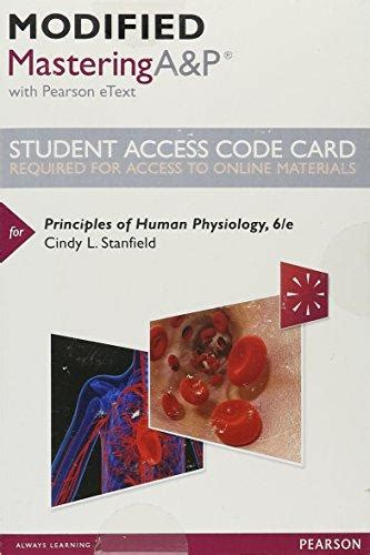 principles of human physiology 6th edition isbn 9780134407159 modified masteringa p with pearson