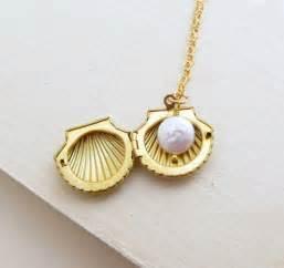seashell jewelry sea shell locket necklace clam shell necklace gold shell