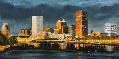Rochester New York Skyline At Painting By Nick Buchanan