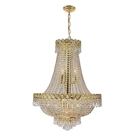 and gold chandelier worldwide lighting empire collection 12 light polished gold and clear chandelier