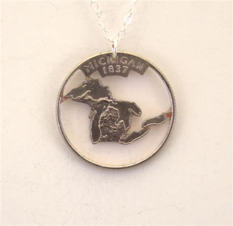 how to make cut coin jewelry michigan cut out coin jewelry necklace pendant