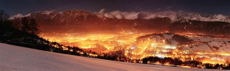 valley lights poland landscape mountain valley lights glowing