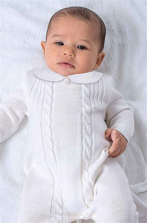 baby boy knit christening louise white knit romper with embroidered collar