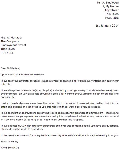 student trainee cover letter example icover org uk