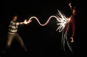 drawing lights light painting on martial artist lights and
