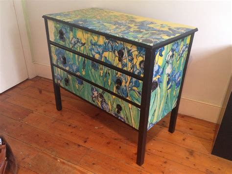decoupage on wood furniture decoupage furniture gogh irises chest 3 by