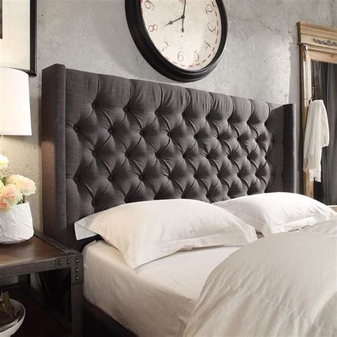 tufted headboard bed naples wingback button tufted linen fabric size