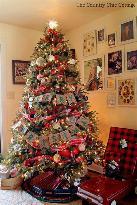 tree with ornaments farmhouse tree with plaid ornaments the