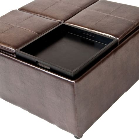 coffee table with four ottomans leather ottoman coffee table stunning awesome large