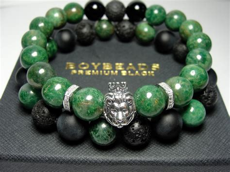pics of beaded bracelets edgar ernest boybeads green jade sterling silver